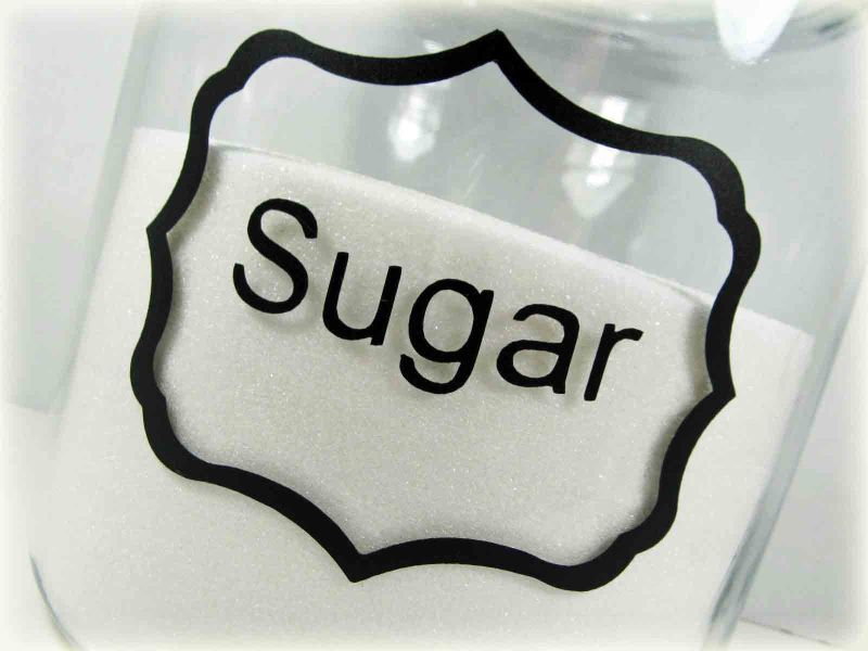 Sugar jar label close up