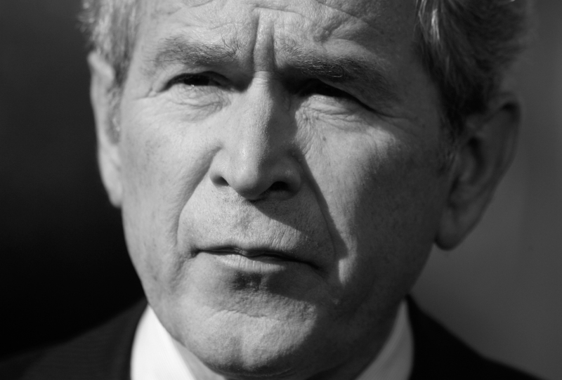 U.S. President George W. Bush pauses whilst speaking about the economy at the White House in Washington